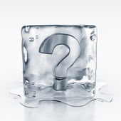 Icecube with question mark symbol inside — Stock Photo