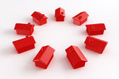 Circle of red houses — Stock Photo