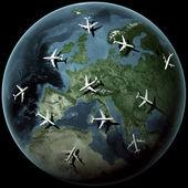 Planes over Europe — Stock Photo