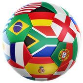 Futebol com bandeiras da copa do mundo 2010 — Foto Stock