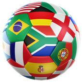 Soccer with flags from world cup 2010 — Stockfoto
