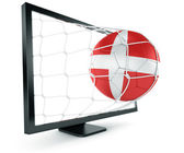 Soccer ball coming out of monitor — Stock Photo