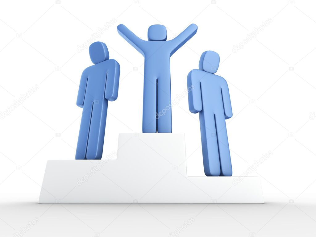 3e rendering of a winner and two losers on a podium — Stock Photo #8282075