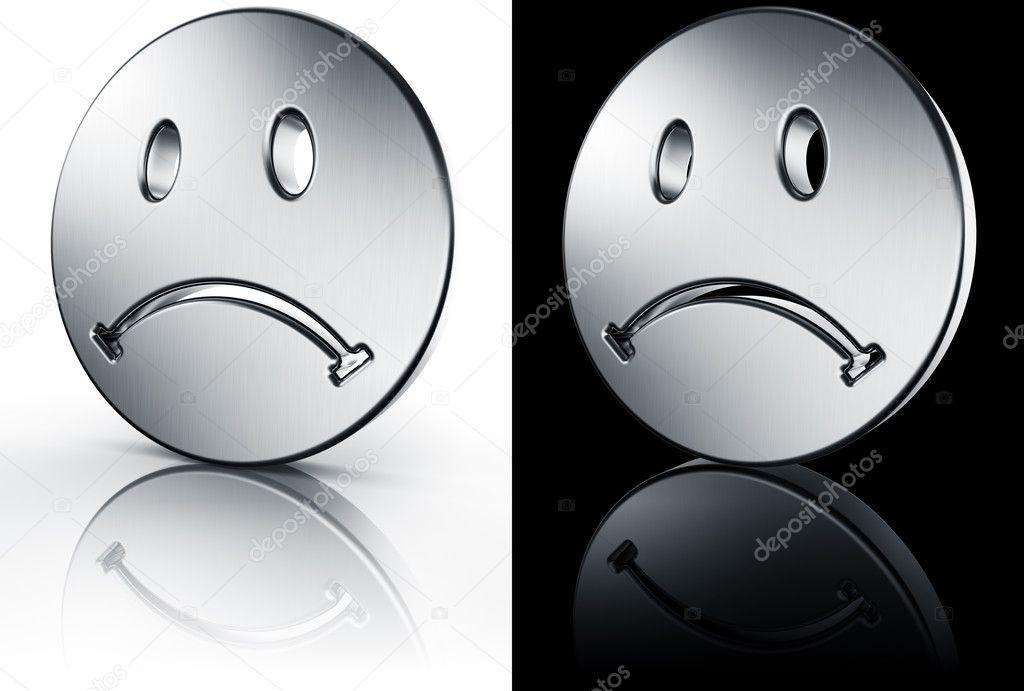 Sourire triste sur le sol noir et blanc photographie - Smiley noir et blanc ...