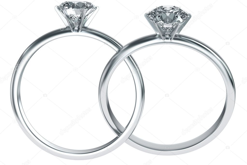 3d rendering of two diamond rings intertwined — Stock Photo #8282500