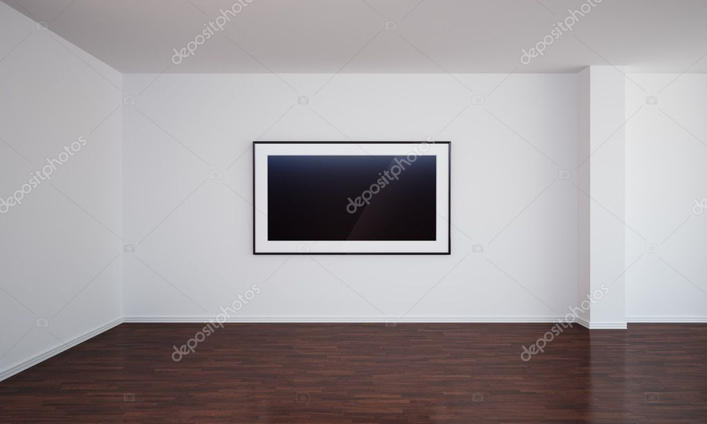 3d rendering of an empty room with a blank painting on the wall, which can easily be switched out with your own image. — Stock Photo #8283960