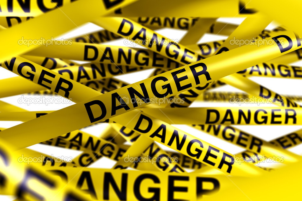 3d rendering of caution tape with DANGER written on it  Stock Photo #8284326