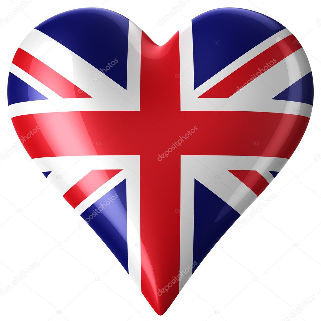 3d rendering of a heart with union jack — Stock Photo #8288636