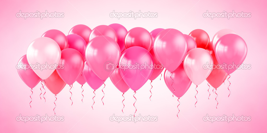 3d rendering of pink party balloons — Stock Photo #8288775