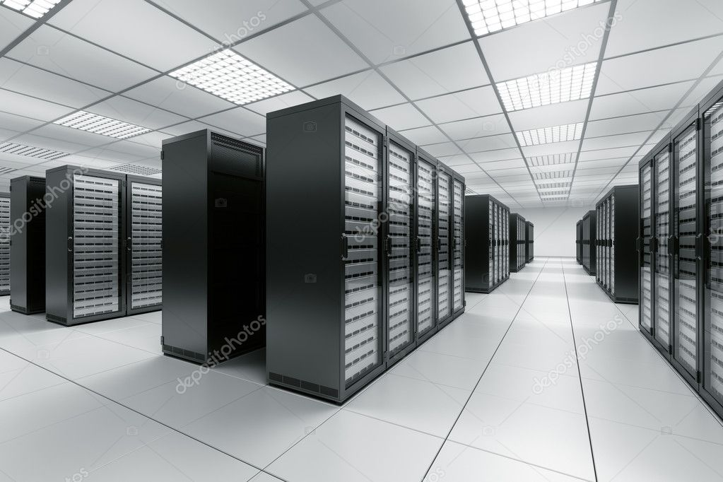 3d rendering of a server room with black servers — Stock Photo #8289022