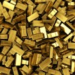 Scattered gold bars - Stock Photo