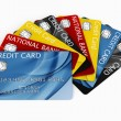 Credit card fanned out — Stock Photo