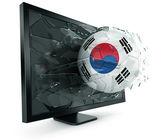 Ball through monitor — Stock Photo