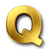 Bokstaven q i guld — Stockfoto
