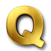 The letter Q in gold — 图库照片