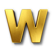 The letter W in gold — 图库照片