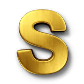 The letter S in gold — 图库照片
