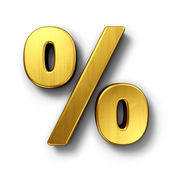 Percentage sign in gold — Stock Photo