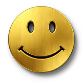 Smiley face in gold — Stockfoto
