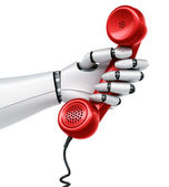 Robot hand holding telephone — Stock Photo