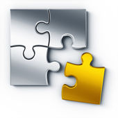 Metal puzzle pieces — Foto Stock
