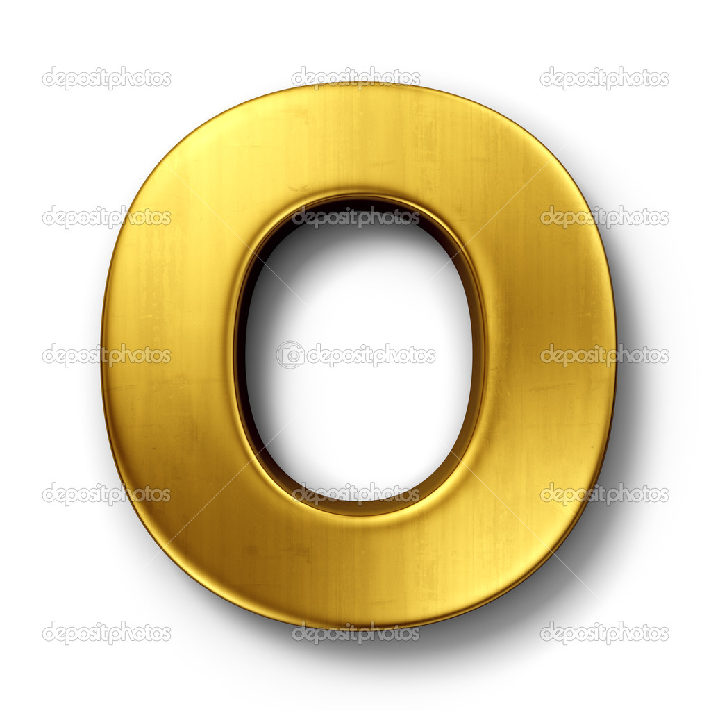 3d rendering of the letter O in gold metal on a white isolated background. — Stock Photo #8292988