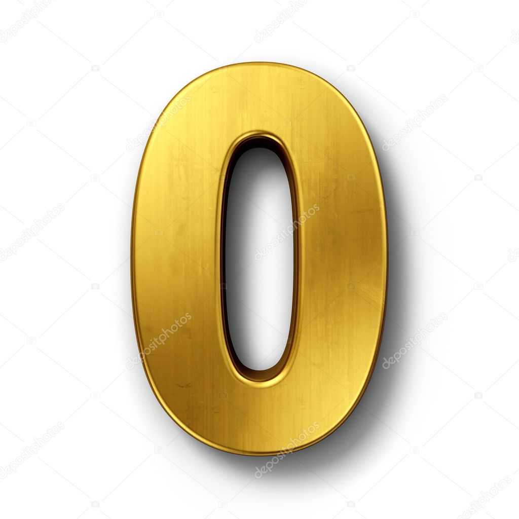 3d rendering of the number 0 in gold metal on a white isolated background. — Stock Photo #8293004