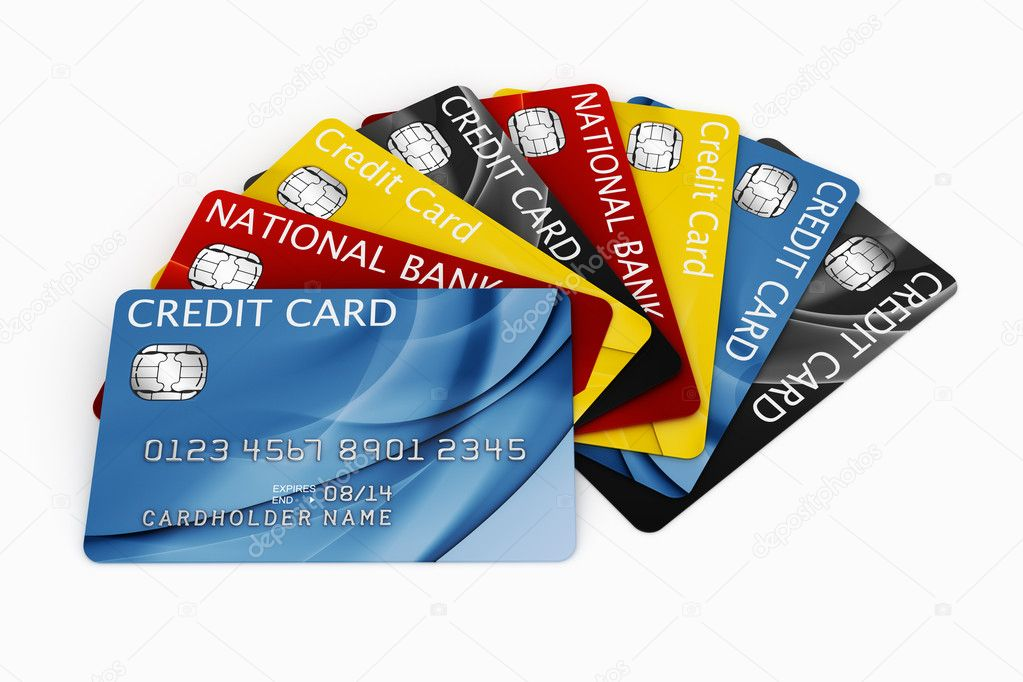 3d rendering of credit cards fanned out — Stock Photo #8299173