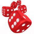 Dices in mid air - Stock Photo