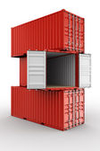 Stacked shipping container — Stock Photo