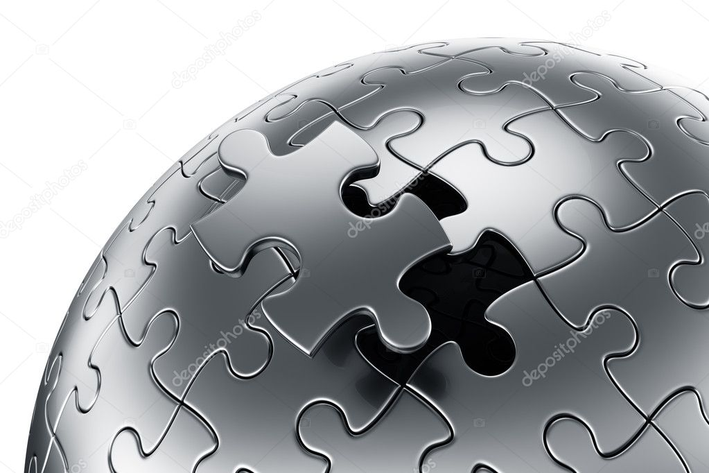 3d rendering of a spherical puzzle with one piece disconnected — Stock Photo #8318777
