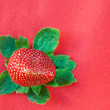 Strawberry from Above with Green Leaves on Red — Stock Photo