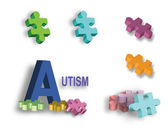 Full page of colorful Autism puzzle pieces and individual piece — ストックベクタ