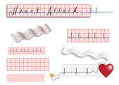 Full page of EKG strips with title and spot illustrations — Stok Vektör