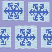Bezešvé opakující políčko vzorku modré pletené vločka — Stock vektor