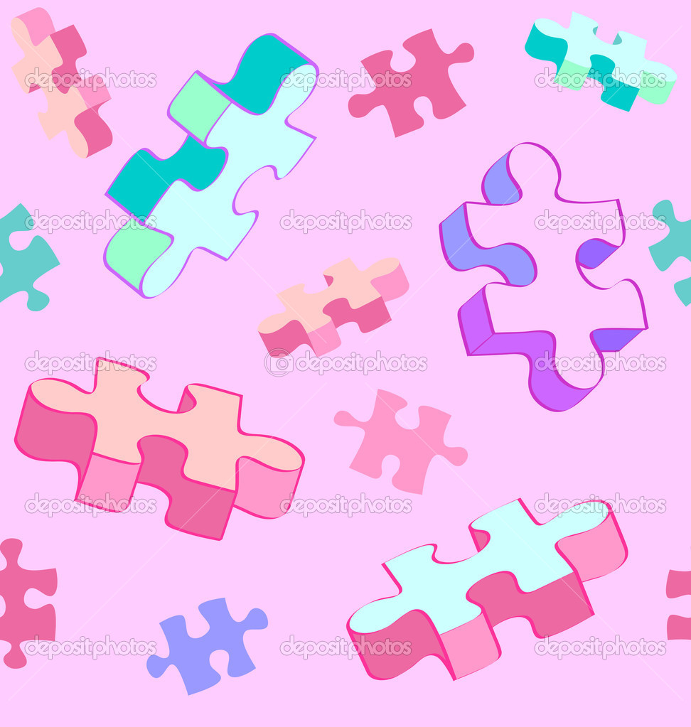 Seamless vector swatch of colorful and fun Autism puzzle pieces. No radial gradients, no 3D effects, easy to edit.  Stock Vector #8402704