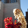 Stock Photo: Lion dancers perform at Chinese New Year festivities