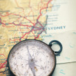 Old Compass and Map - Stock Photo