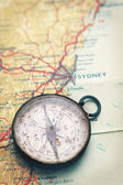 Old Compass and Map — Foto Stock