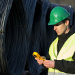 Supervisor With Geiger Counter At Construction Site — Stock Photo