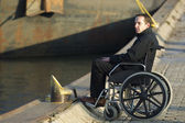 Disabled Man On Wheelchair Outdoors — Stock Photo