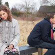 Troubled Couple On Bench — Stock Photo