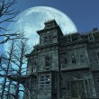 Haunted House - Full Moon - Stock Photo