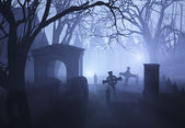 Misty Overgrown Cemetary — Stock Photo