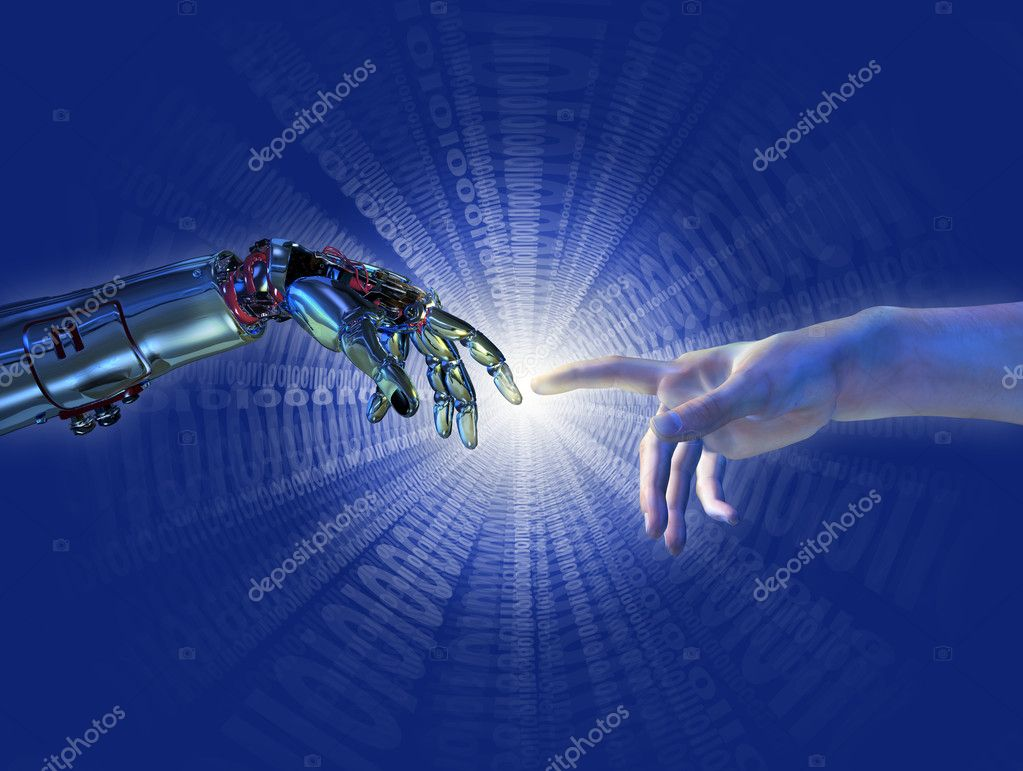 Robot and human hands almost touching with a binary burst of light - 3D render with digital painting. A modern take on the famous Michelangelo painting in the S — Stock Photo #8265111