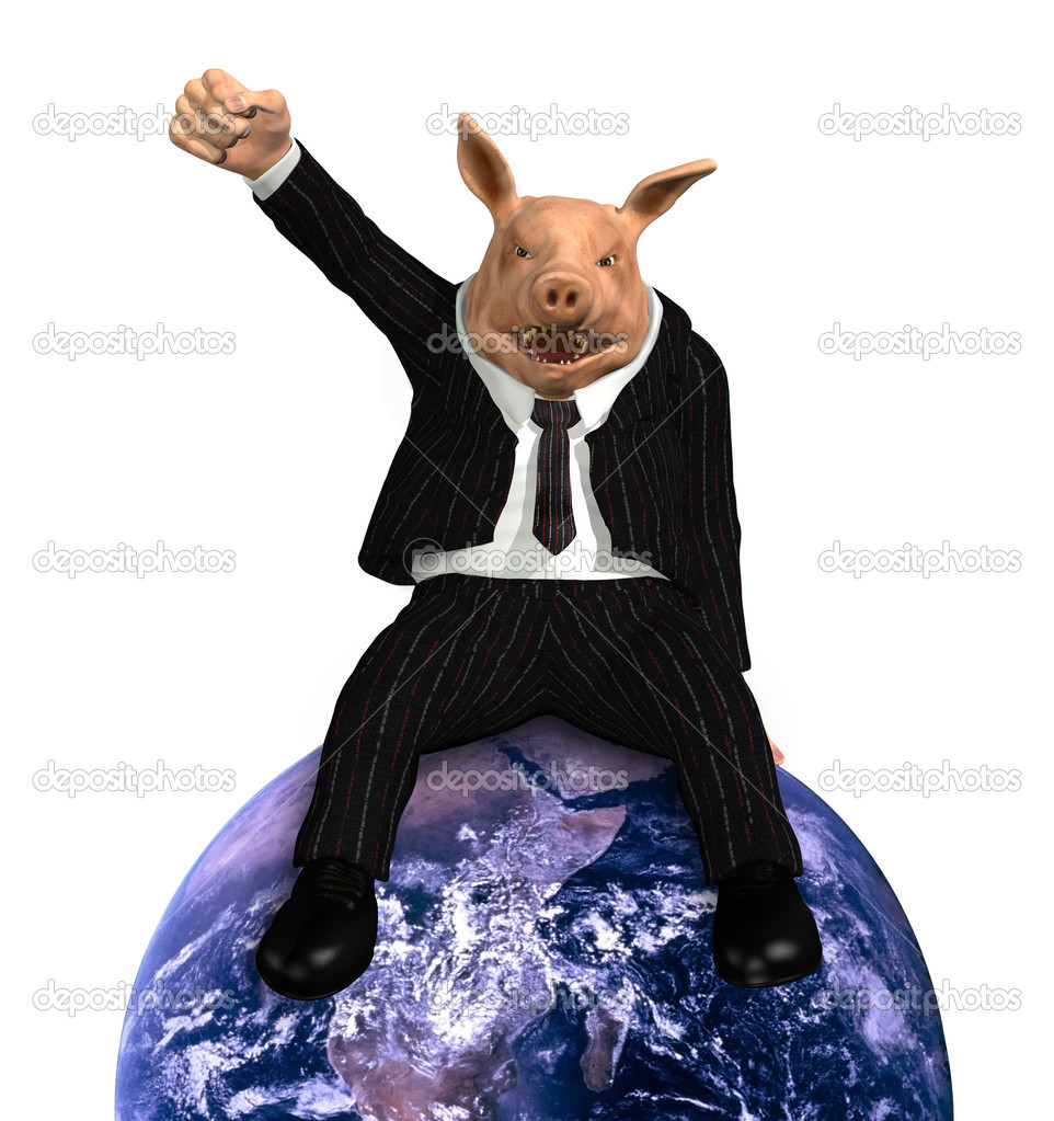 A pig dressed in a business suit sits on top of an earth globe, with his fist raised in victory - 3D render. Earth photo courtesy of NASA.  Stock Photo #8265167