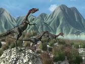 Prehistoric Scene with Compsognathus Dinosaurs — Stock Photo