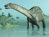 3D render depicting a Dicraeosaurus dinosaur in a tropical setting. — Stock Photo