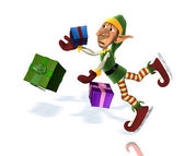 OOPS Santa's Elf drops Gifts! — Stock Photo