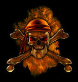 Burning Pirate Skull — Stock Photo